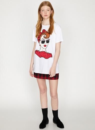 Koton Koton Beyaz Baskılı T-Shirt Ekru